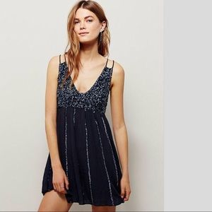 FREE PEOPLE Glitter Girl Slip. Black NWT